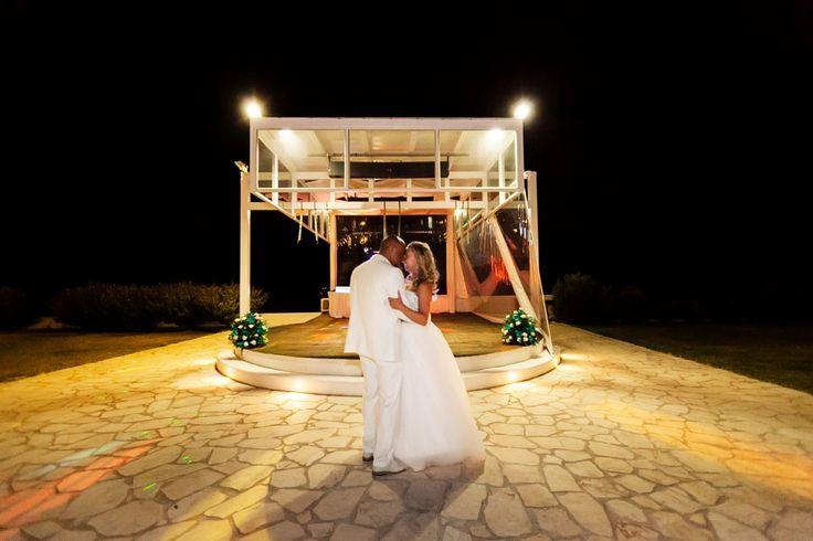 Romantic first dance by the charming white pavillion at villa wedding in Crete. Moments www.weddingincrete.com