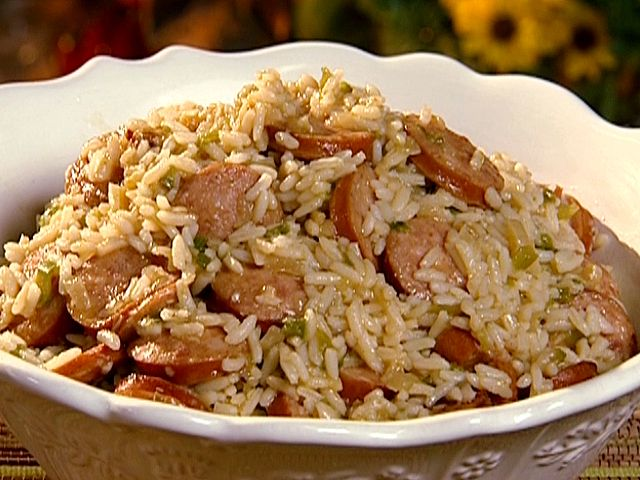 Dirty Rice with Smoked Sausage from The Neely's. I'm not good at making rice so I cook minute rice in some of the chicken stock, still comes out fantastic!