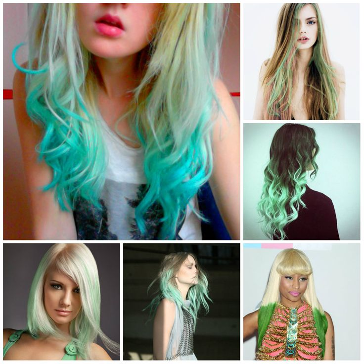 Subtle Green Tips Hair Color Ideas