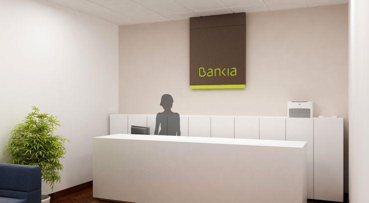 Diseño cartel de bienvenida oficina para Bankia