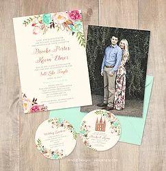 Boho wedding invitations.  Mint and pink wedding.  Round wedding information cards. Boho flowers for wedding. Pretty wedding paper. Engagement photo. LDS wedding announcement.  Salt Lake City Temple.  SLC temple wedding.