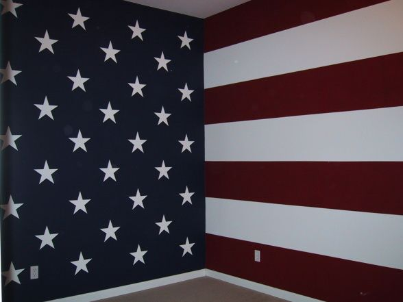 American Flag, My sons room was painted by my husband and I to resemble the upper portion of the American Flag. , There is no furniture in this picture as it was taken just before we moved. My son picked his theme and we went for it. We used a laser level for straight lines on the stripes and to make sure the stars were lined up. We are currently working on our sons new room.    , Boys Rooms Design