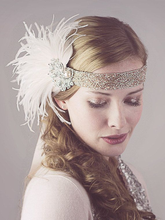 Peaches And Cream Ostrich Feather Flapper Headband Silver And Antique Gold. on Etsy, $148.00