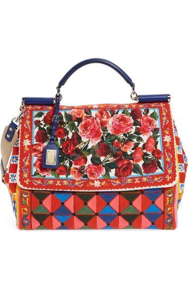 Main Image - Dolce&Gabbana Carretto Fiori Sicily Canvas Satchel