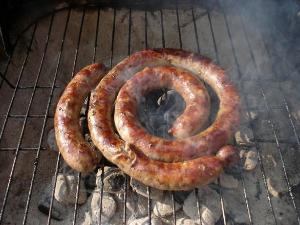 Boerewors - South African Sausage from Food.com:   								This is a must on every barbecue whether it be coal, gas or electric!  When I have not been able to get the skins to produce sausages, I have shaped this mixture into patties and have served it in burger form - something my American family and friends have raved over!