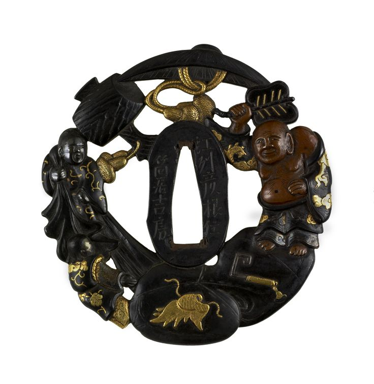 Tsutsui Yoshifusa Tsuba: Hotei with Attendants and Treasures. Shakudo, gold and silver detail ca. 1750 http://art.thewalters.org/images/art/ps3_51388_fnt_dd_jp08.jpg