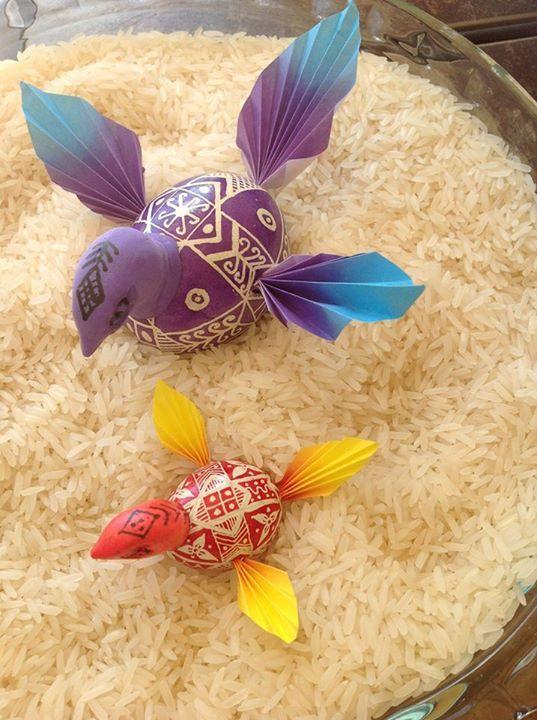 Lovely pysanky bird ornaments by Jo Ellen Grubbs