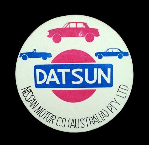 Datsun‬ Nissan Australia Coaster ‪Beer Mat. Classic Car - Classic Coaster. Get one from mAntiqueAustralia.com.au.