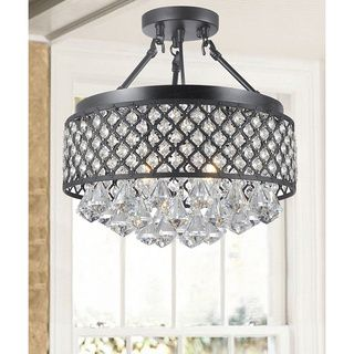 Antonia 4-light Crystal Semi-flush Mount Chandelier with Antique Bronze Iron Shade   Overstock.com Shopping - The Best Deals on Flush Mounts