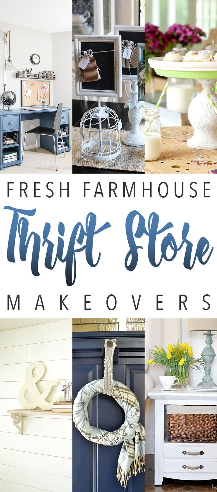 Fresh Farmhouse Thrift Store Makeovers that will make you want to get in your car and visit your Local Thrift Store TODAY!