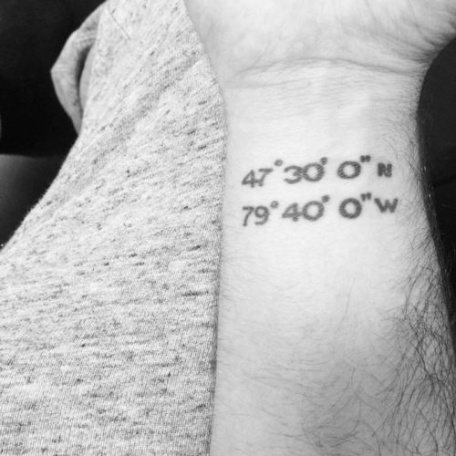Little wrist tattoo of the coordinates of his hometown on Matty Monty.