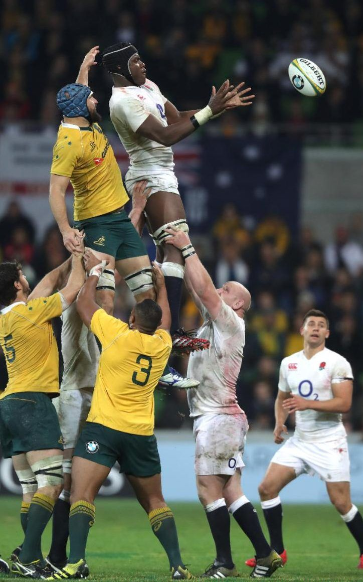 Maro Itoje wins a line-out for England in a 23-7 win over Australia in July2016
