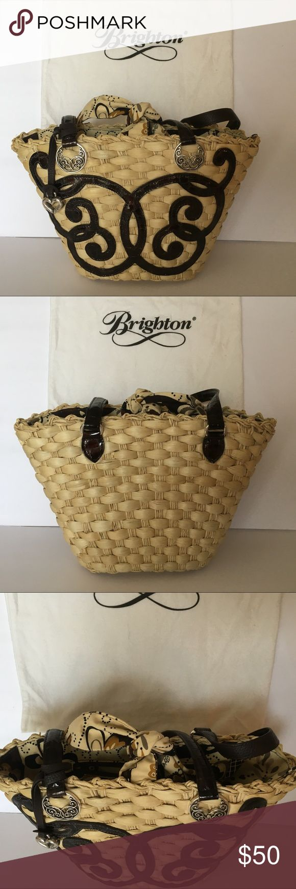 """Brighton Scroll Straw Tote Brighton Lyric Scroll Straw Tote $50- retails $200  EUC, a favorite! Authentic Brighton, purchased at Brighton store. Handkerchief knot closure, dark brown leather details, silver hardware. Well cared for, clean, non smoking home. 9x12""""  Dust bag included.   Cross posted.  No español, por favor. Brighton Bags Totes"""