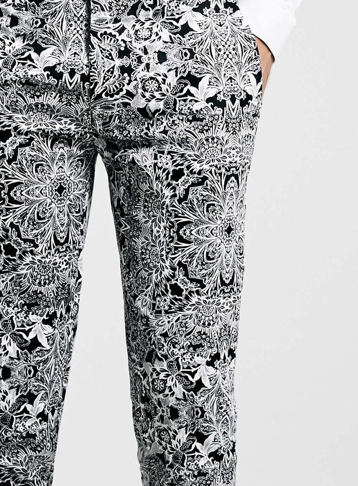 Mono Print Ultra Skinny Fit Trousers