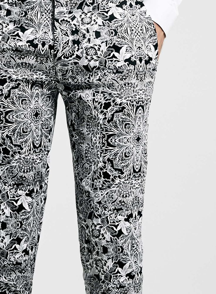 Mono Print Ultra Skinny Fit Trousers