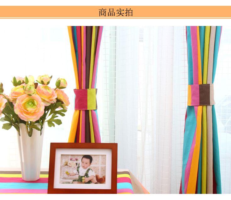 Ифэй Человек пастырской спальни гостиной шторы закончил полутени ткани хлопка детей полосатые шторы -tmall.com Lynx