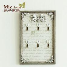 Miz Home 20*30 cm Vintage Home Decor Wooden Resin Decorative Key Storage Box Home Decor Wall Key Holder Hooks(China (Mainland))