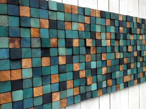 HECHO A PEDIDO ***  Este listado está para una incorporada a la versión de la orden de una pieza previamente vendida. Alguna ligera variación de tonalidades y grosores es de esperarse, pero voy a seguir el patrón original lo más fielmente posible. Por favor espere 3-4 semanas para la construcción.  ESPECIFICACIONES ORIGINALES DE:  Mosaico de elementos de pino al OSB. Cada uno ha sido cortado y pintado a mano, por lo que el mosaico es único y nunca tendrá una copia idéntica.  Ancho: 162 cm…