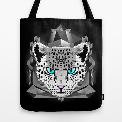 Snow+Leopard+Tote+Bag+by+chobopop+-+$22.00