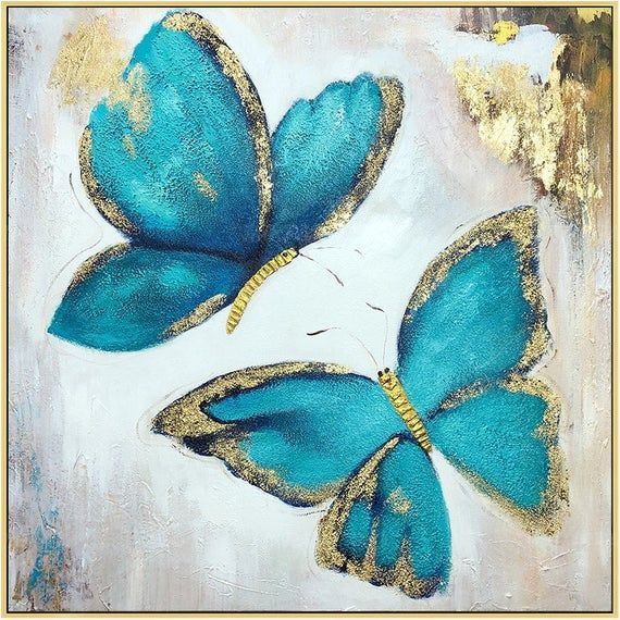 3 pieces Butterfly blue art acrylic Paintings On Canvas Gold art flowers abstract heavy textured Wall Pictures home Decor cuadros abstractos