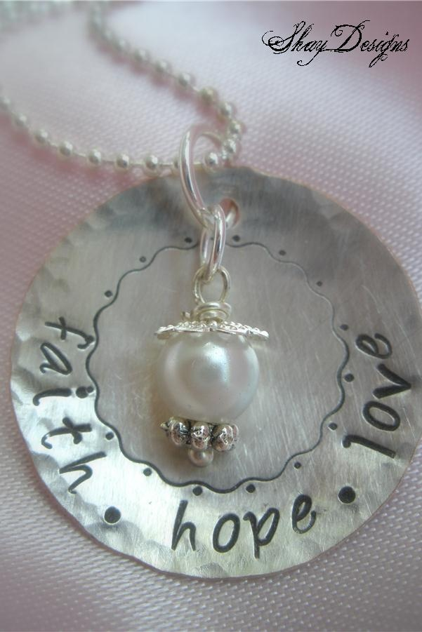 Stamped faith hope love necklace shay designs for Faith hope love jewelry
