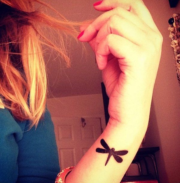 Small dragonfly tattoo on wrist- 50+ Dragonfly Tattoos for Women   Showcase of Art & Design