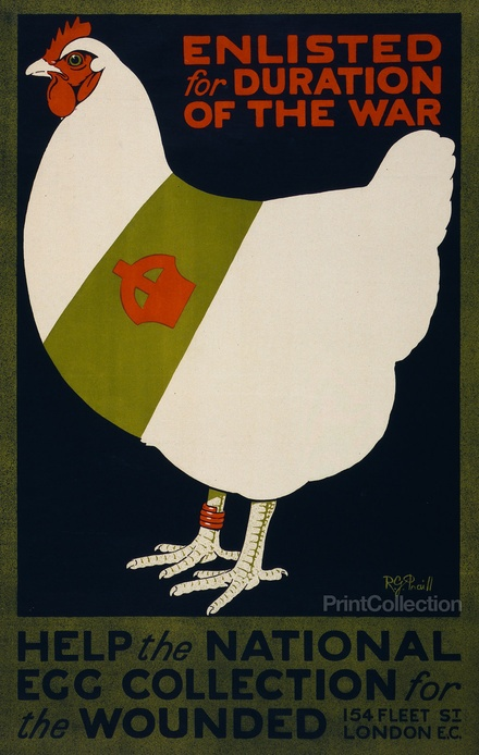 Enlisted for duration of the war. Help the national egg collection for the wounded, by R.G. Praill ; Avenue Press, London W.C. Created in 1915 as a color lithograph at 75 x 48 cm. Summary: Poster showing a chicken wearing a red leg band and a sash decorated with a crown.