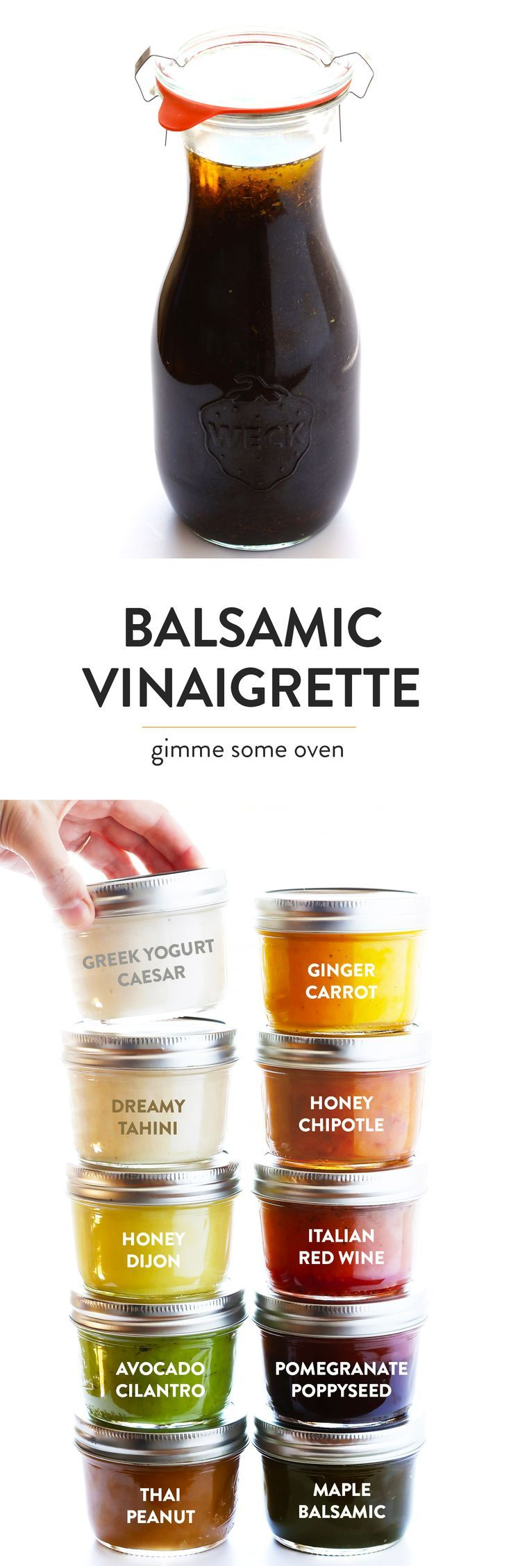 My FAVORITE Balsamic Vinaigrette recipe! It's quick and easy to make, sweetened with maple syrup, totally customizable, and it tastes great on everything from salads to vegetables to grilled chicken and beyond. | gimmesomeoven.com (Vegetarian / Vegan / Gluten-Free)