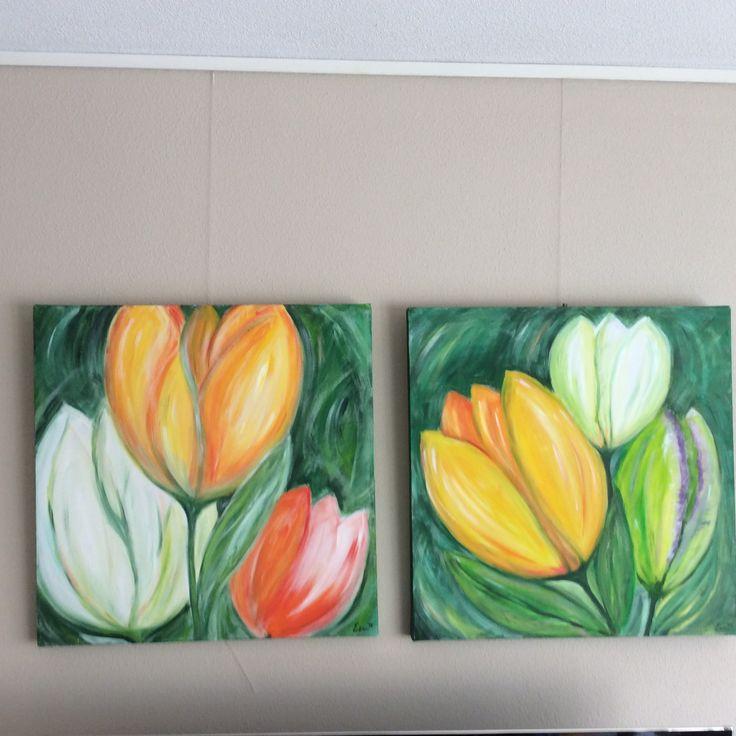 Tulpenschilderijen 50x50 cm. acryl op doek door Erna Feijge