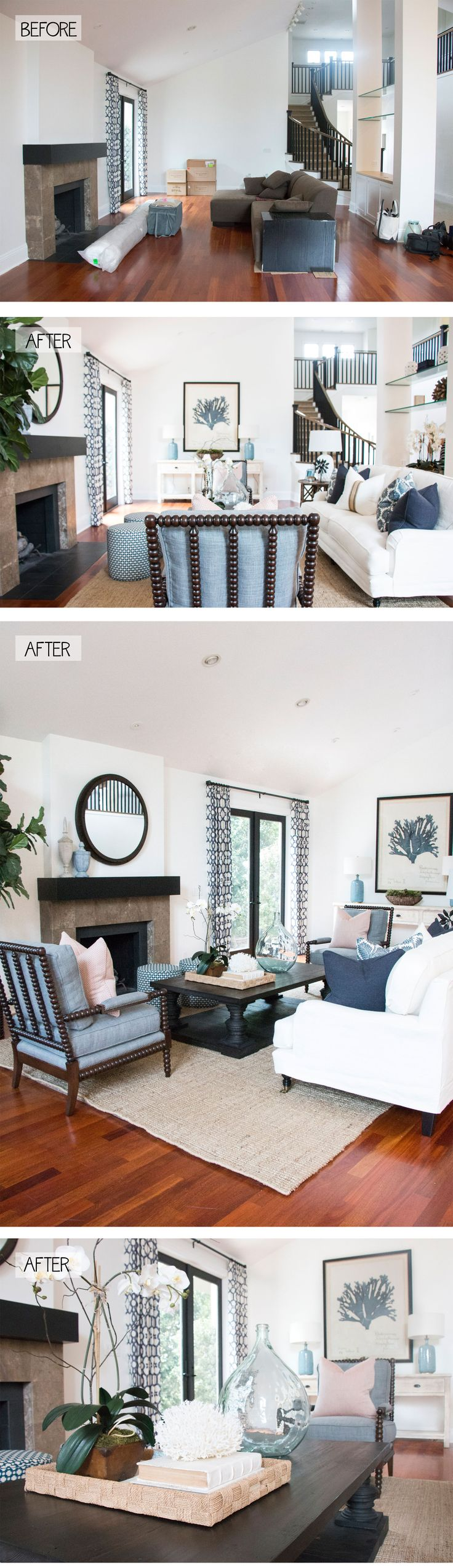 BEFORE And AFTER Rug PlacementCurtain PatternsCoastal Living RoomsLiving Room