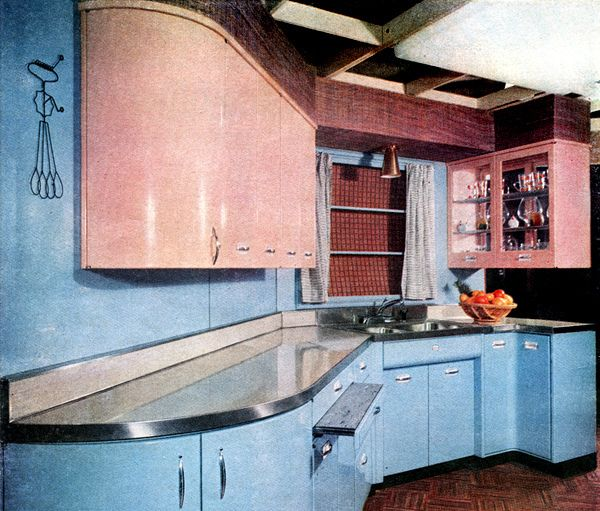 American Home Magazine, 1955 (Geneva Kitchen in Potters Blue & Blossom Pink) LOVE those curved end cabinets.
