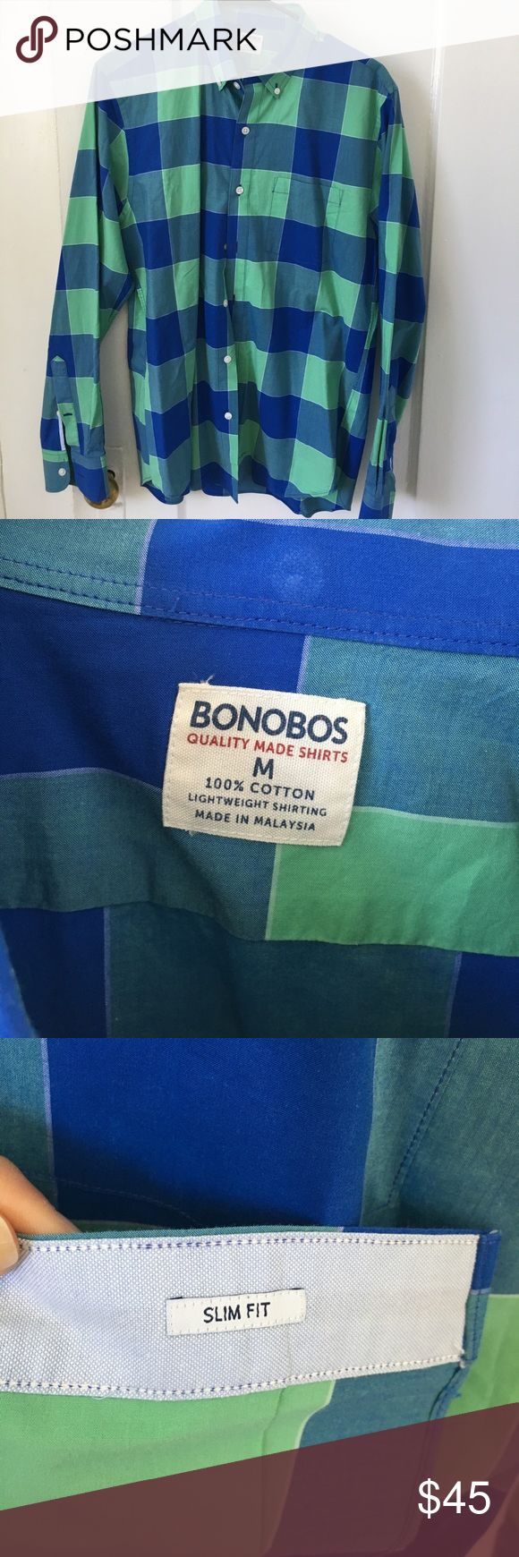 Bonobos lightweight casual button down size M Bonobos lightweight casual button down size M. Non smoking home with no pets. Worn about 3 times.  Open to offers. No trades. Bonobos Shirts Casual Button Down Shirts
