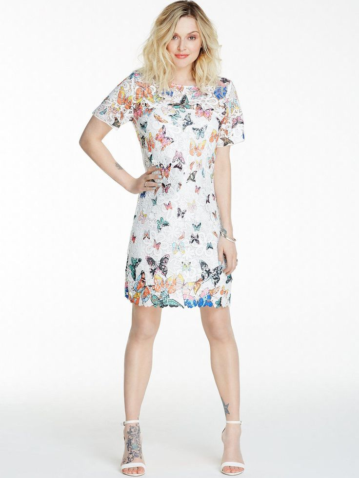Fearne Cotton Butterfly Print Lace Dress | very.co.uk