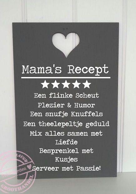 Teksbord Moeders Recept 59 x 39 cm | Tekstborden | Woning-Decoratie.nl