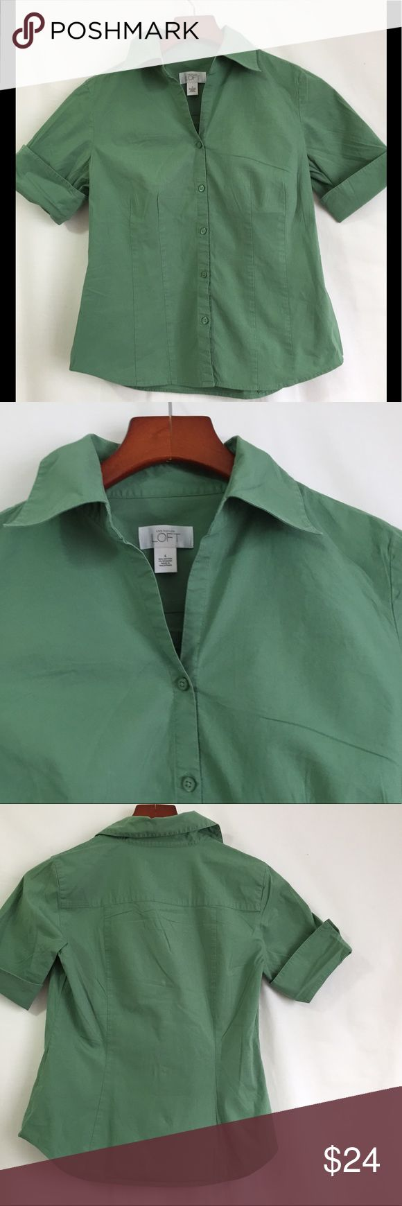 Ann Taylor LOFT Green Short Sleeve Blouse Womens 4 This is an Ann Taylor LOFT green short sleeve blouse.   Content	: 98% cotton, 4% spandex Measurements	Shoulder to shoulder  15  Sleeve length from top of shoulder 9  Chest 36  Overall Length 21 Ann Taylor Tops Button Down Shirts