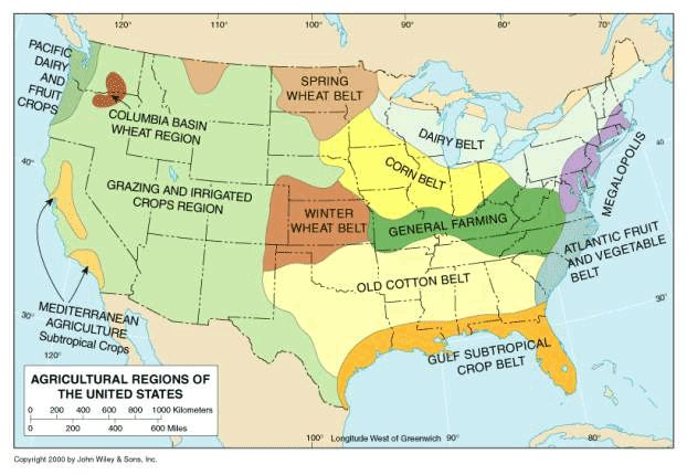 Map Of Us Agriculutre Globalinterco - Where are the dairyon the us map