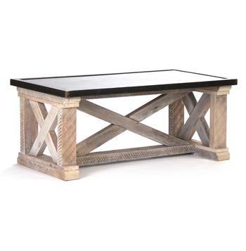 Valerya Zinc Top Chunky Rustic Solid Wood Coffee Table