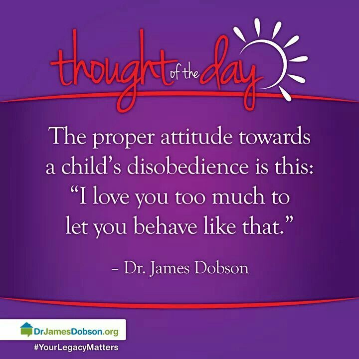 "The proper attitude towards a child's disobedience is this: ""I love you too much to let you behave like that."" - Dr. James Dobson"