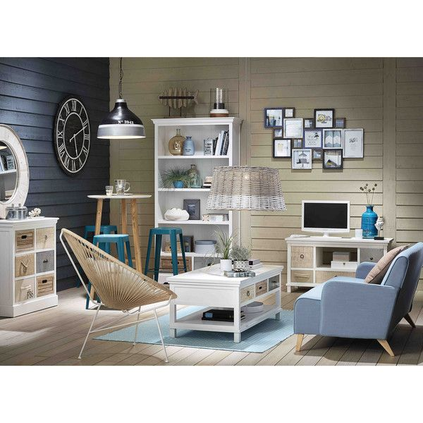 Wooden TV unit in white W ... - Ouessant
