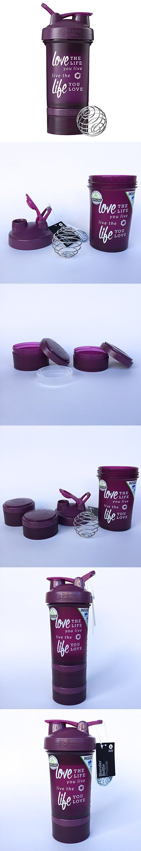 Love Life Prostak Blender Bottle, 22oz Protein Shaker cup with Twist N' Lock Storage (Plum)