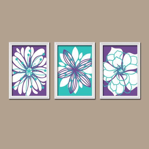 Light Blue Bathroom Wall Art Canvas Or Prints Blue Bedroom: Purple Turquoise Wall Art, CANVAS Or Print Purple Nursery