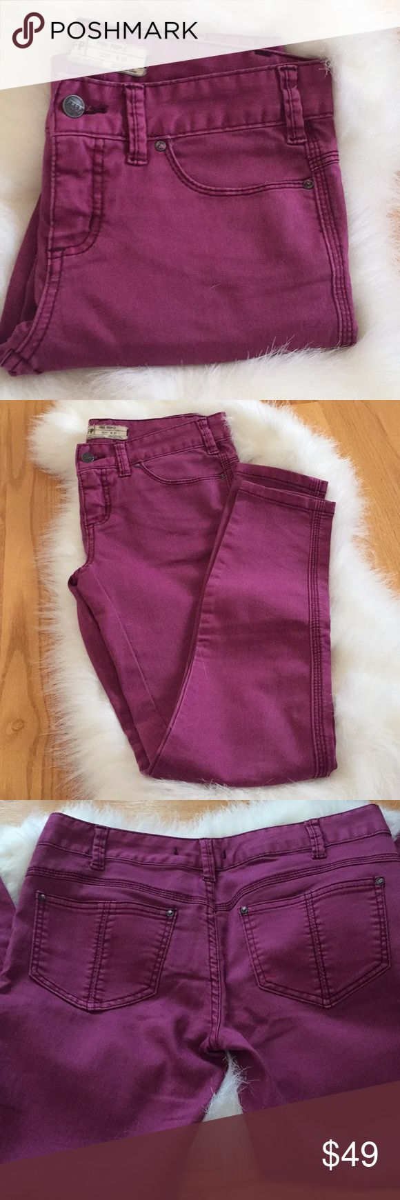 FREE PEOPLE Plum Skinny Jean Size W27 FREE PEOPLE Beautiful Plum Color Skinny Jean Size W27 Excellent condition with no holes or stains(see pictures) ✨Buy before it sells out✨ NO TRADES! NO HOLDS!  ALL OF MY ITEMS COME FROM SMOKE FREE, AND PET FREE HOME. Free People Jeans
