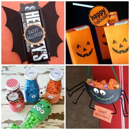 Trick or Treat: Kids will love making these 20 Halloween Candy Craft Ideas! Love the spider paper plate!
