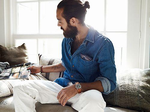Casual: Men Buns, Long Hair, Men Style, Denim Shirts, Longhair, White Pants, Style Men, Pockets Squares, Scotch Sodas