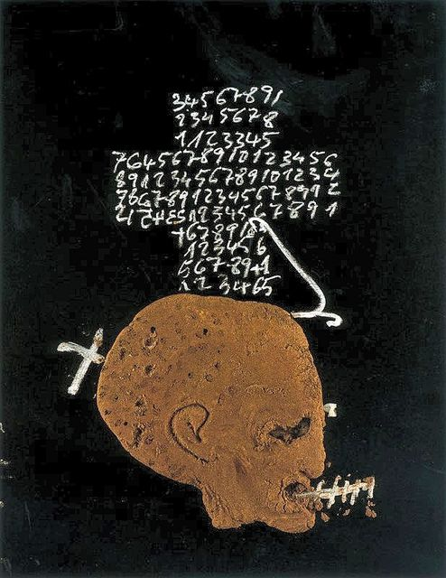 Tapies, Antoni (1923-2012) - 1995   Mixed media on wood; 116.5 x 89 cm.  Spanish Catalan painter, European abstract expressionism. In 1948, Tàpies helped co-found the first Post-War Movement in Spain known as Dau-al-Set which was connected to the Surrealist and Dadaist Movements.