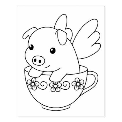 Flying Pig In A Teacup Coloring Page Rubber Stamp Zazzle