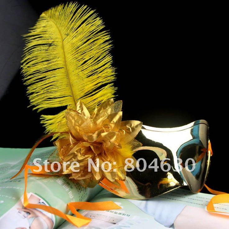 Золотое покрытие мужчина маска из страусиных перьев маска цветок сторона Венецианский маскарад костюм партии карнавал свадьба поддержать бесплатная доставка