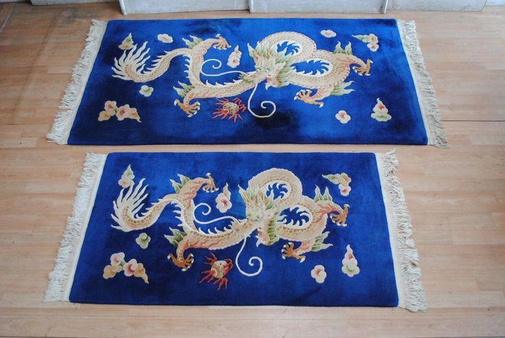 PR Vintage Chinoserie Wool RUG Celestial Dragon ART Deco Style Luck Prosperity in VIC | eBay