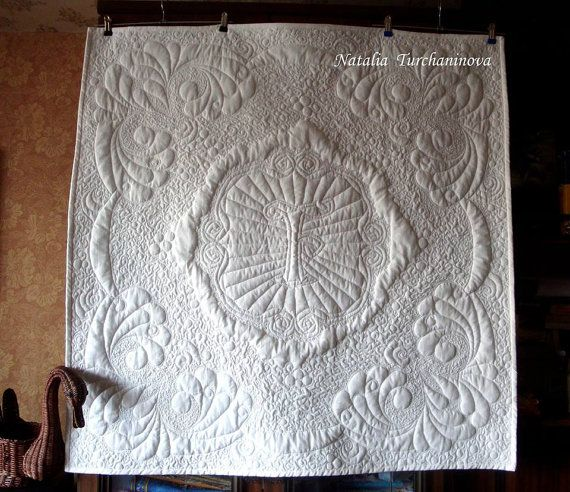 Quilted Baby blanket Family Luxury White  Author Design Cotton Christening Special Dedication Unique Handmade