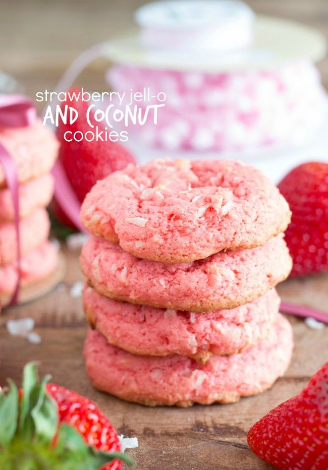 Strawberry Jell-o & Coconut Cookies